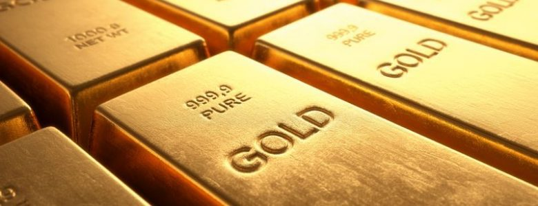 Three rows of solid gold bars in Canada bank