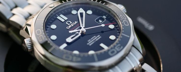 Close-up of stylish Omega watch for sale at Brampton pawn shop